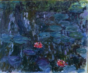 """""""Water Lilies and Reflections of a Willow"""" by Claude Monet"""